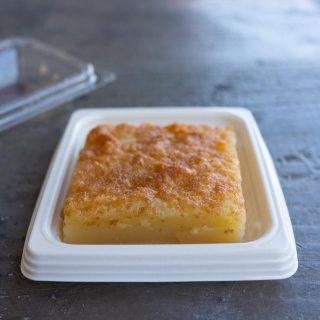 A small square of butter mochi.