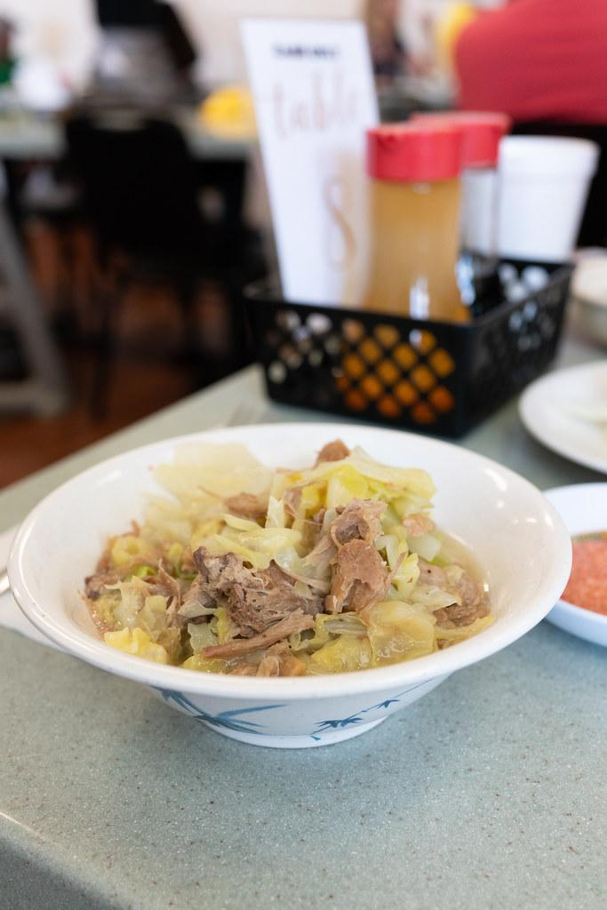 A dish of Kalua pork and cabbage from Helena's Hawaiian Food.