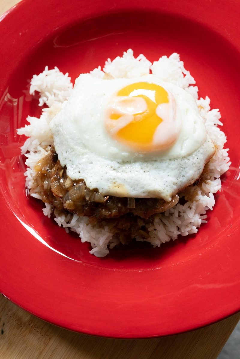 Homemade Loco Moco on a plate
