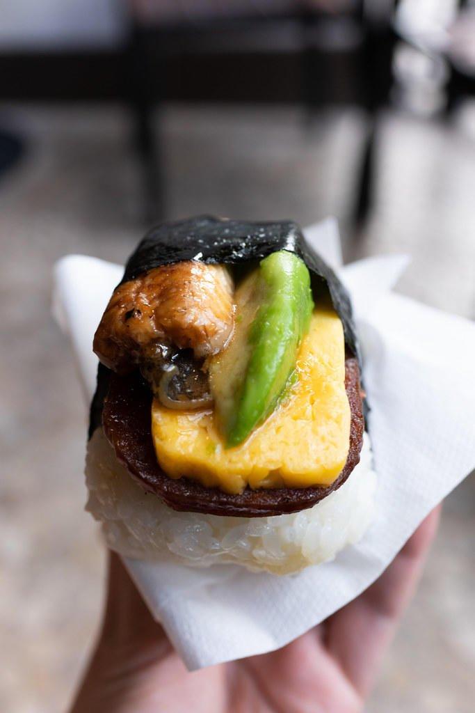 Spam-Omelet-Avocado-Unagi Musubi from Musubi Cafe Iyasume