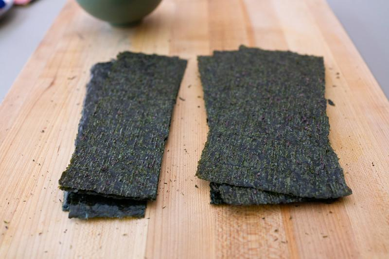 Nori cut into thirds (left) and half (right)