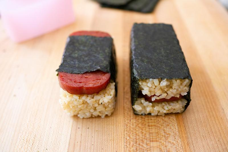 Two common styles of Spam Musubi: Spam on top and Spam in middle