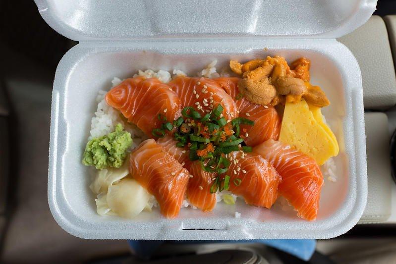 Salmon sashimi and uni on rice from Maguro Brothers.