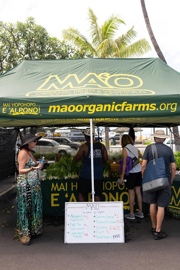 MA'O Organic Farms stand at Kakaako Farmers Market