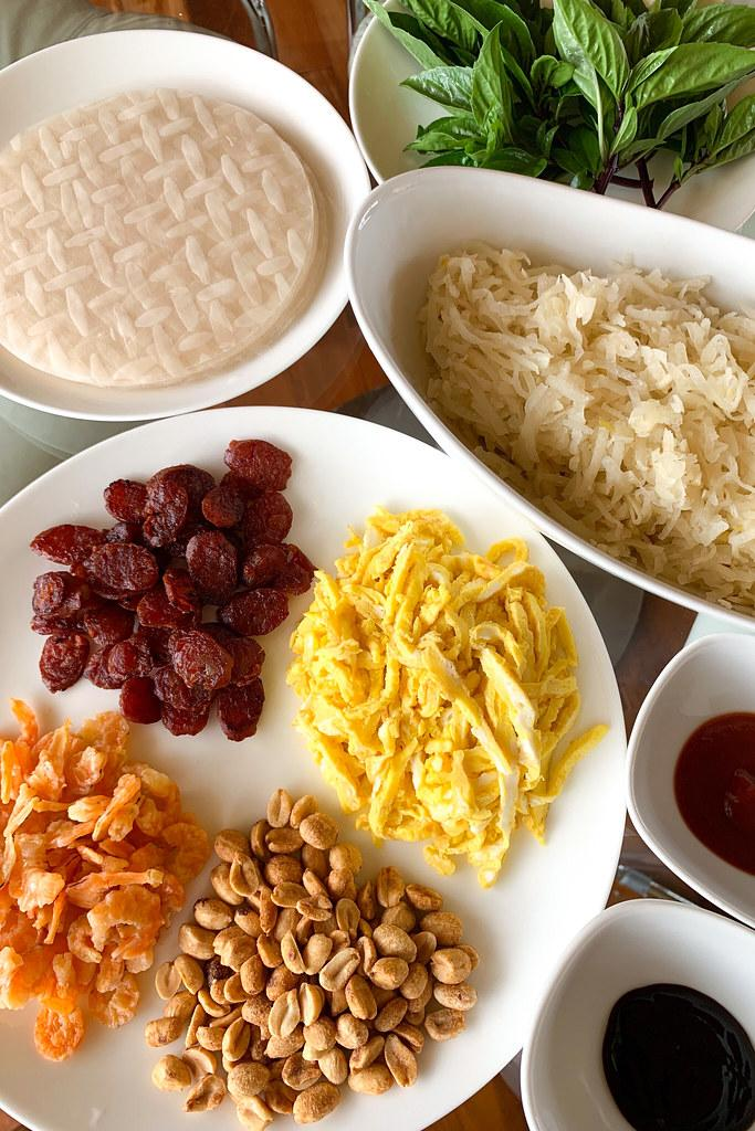 All the ingredients to make popiah, ready to assemble and eat!