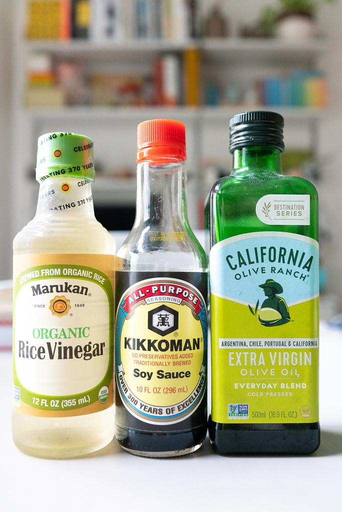Rice vinegar, soy sauce (shoyu), and olive oil