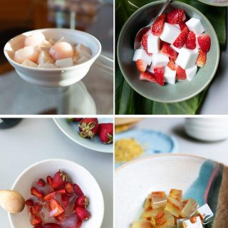 Collage of agar agar desserts
