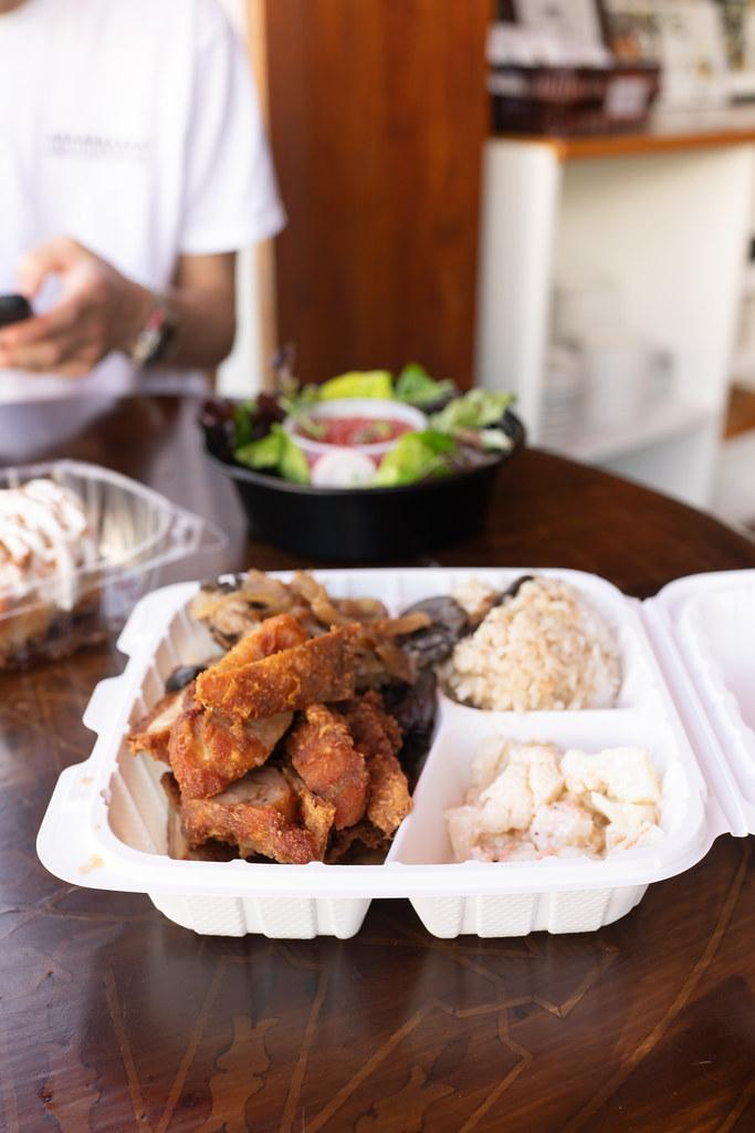 Hamburger steak and fried chicken plate lunch