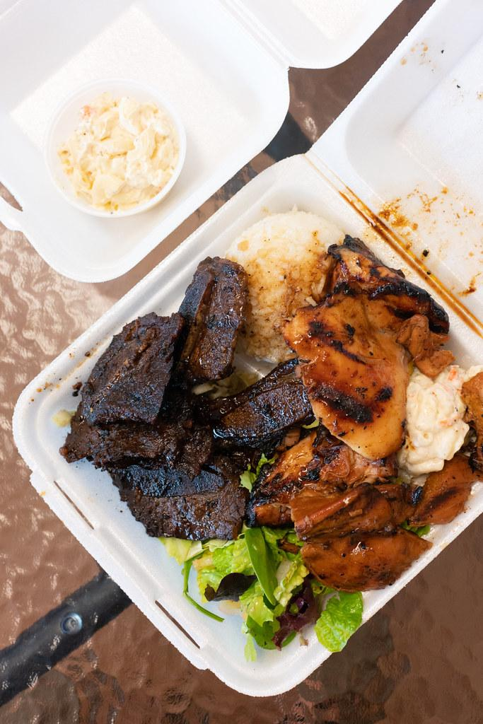 Bbq guava chicken and kalbi plate at Kiani's (Oahu)