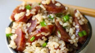 Chinese sausage and rice in a bowl, cooked together in the rice cooker