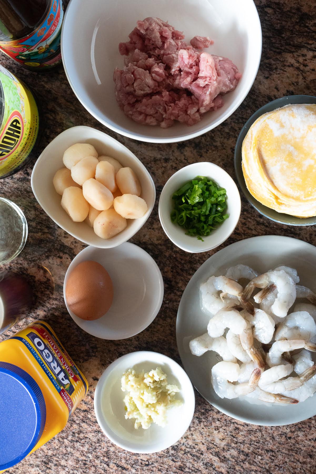 Ingredients for Pork Hash (ground pork, shrimp, egg, water chestnuts, green onions, garlic, cornstarch, soy sauce, oyster sauce, sesame oil, white pepper, and round dumpling skins).
