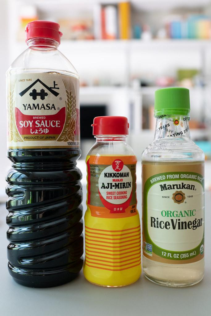 Soy sauce eggs marinade ingredients include soy sauce, mirin, and rice vinegar