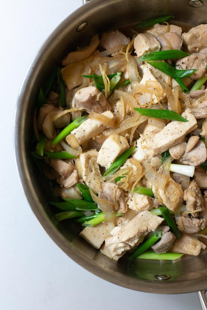 Chicken Tofu, just finished cooking in the saucepan and ready to eat
