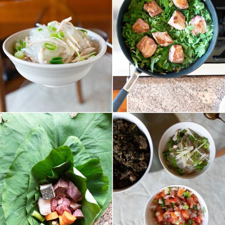 Collage of Hawaiian dishes (chicken long rice, luau stew, lomi lomi salmon, and lau lau)