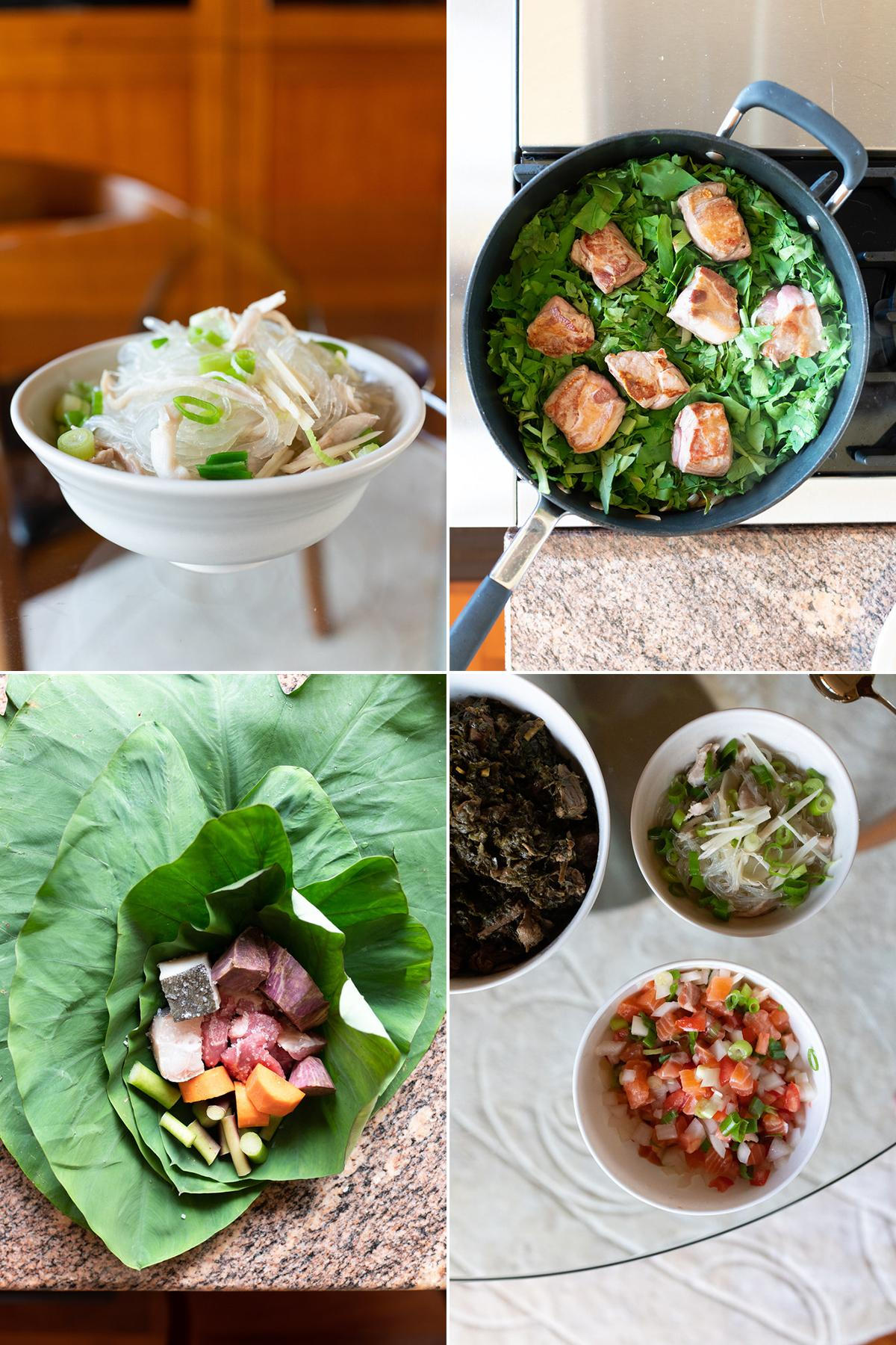 Collage of Hawaiian dishes. Clockwise from top-left: chicken long rice, luau stew, lau lau, and lomi lomi salmon.