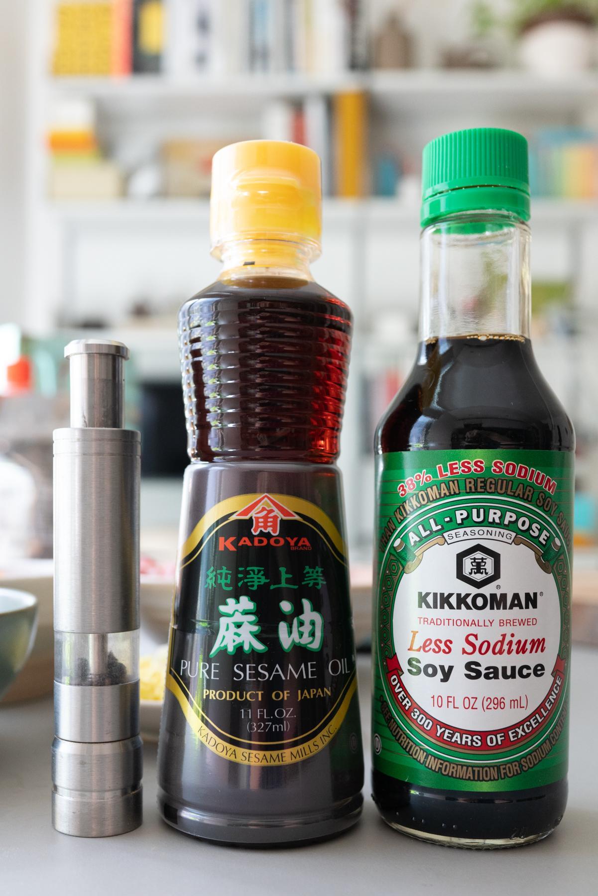 seasoning for kimchi dumplings: black pepper, sesame oil, and soy sauce