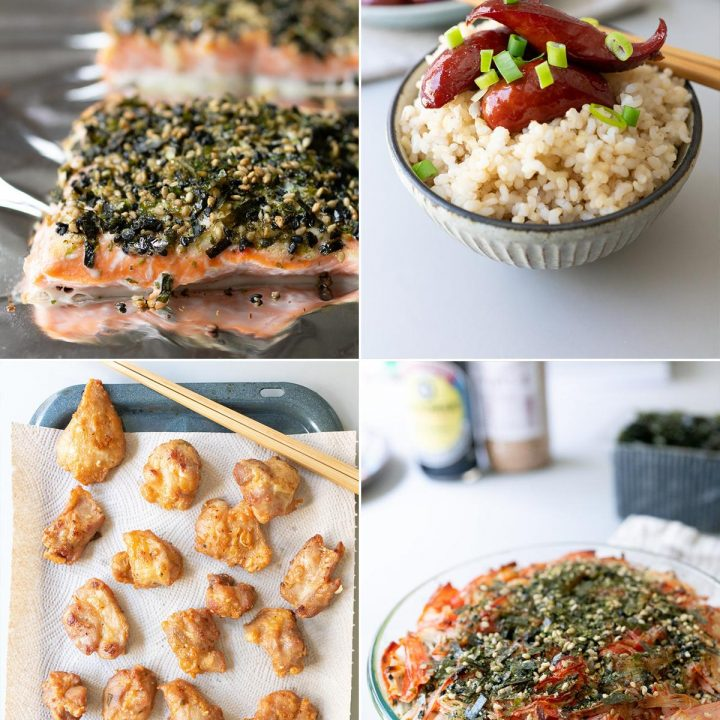 Collage of local dishes (furikake salmon, shoyu hot dogs, sushi bake, mochiko chicken)