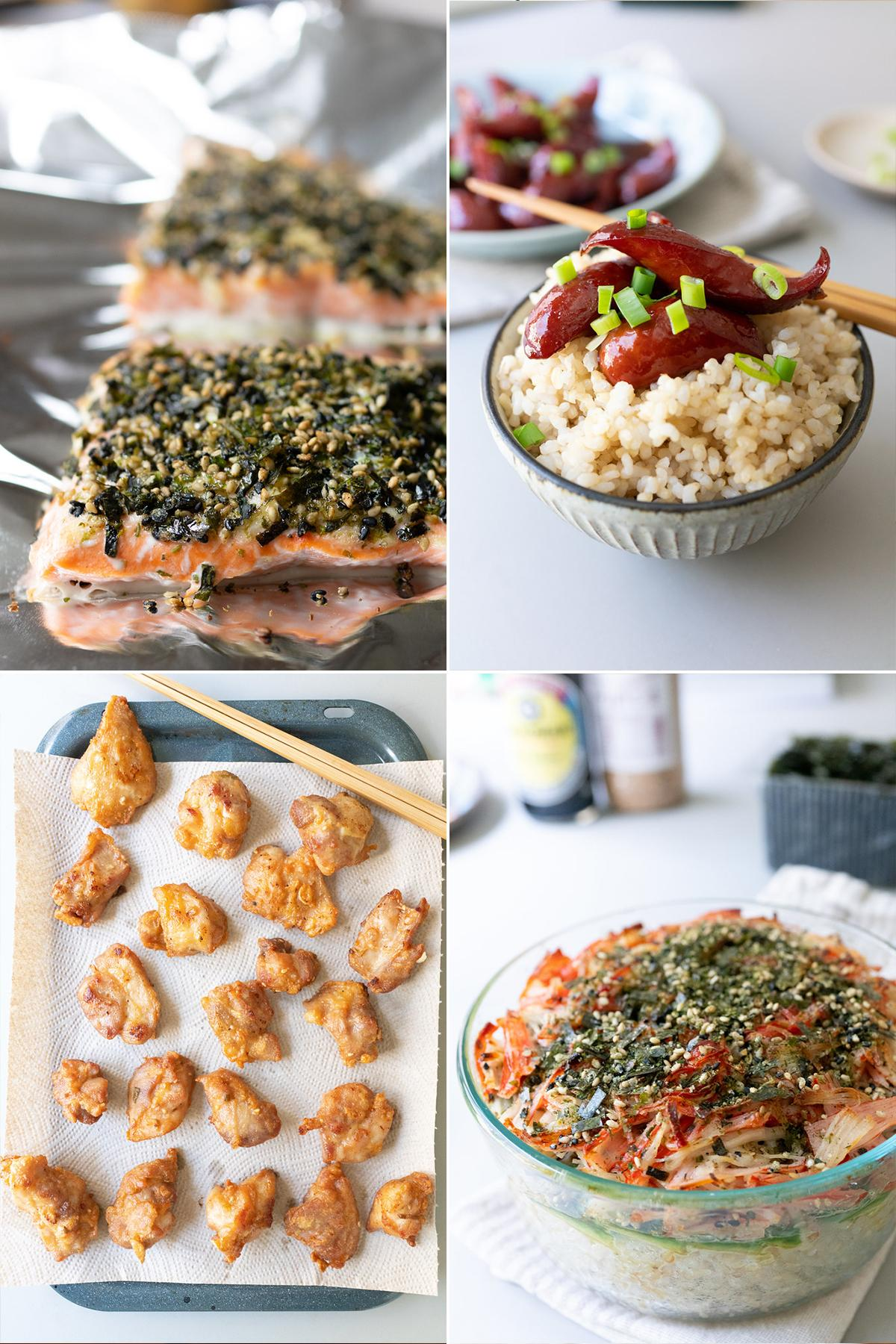 Collage of local dishes. Clockwise from top-left: furikake salmon, shoyu hot dogs, sushi bake, and mochiko chicken.