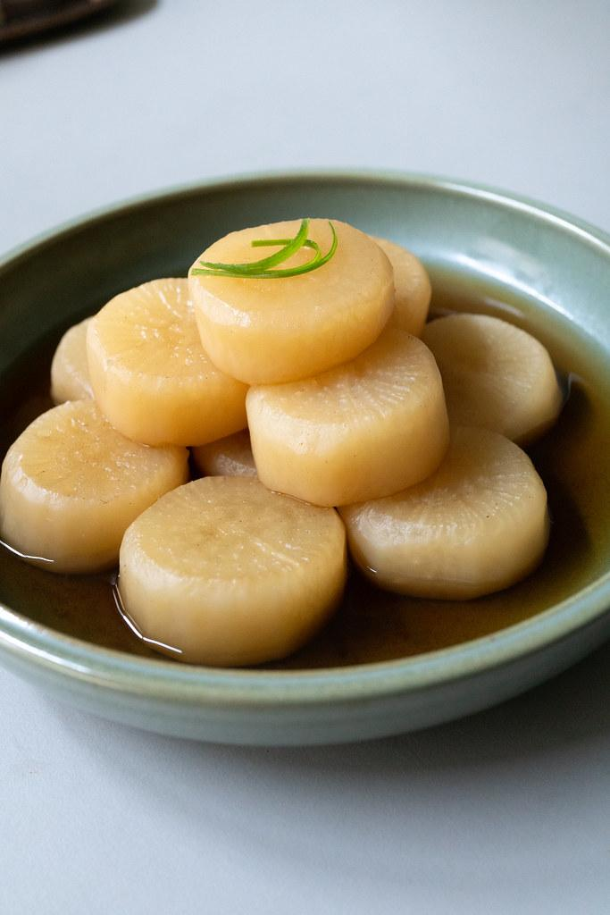 Simmered Daikon in a bowl, ready to eat