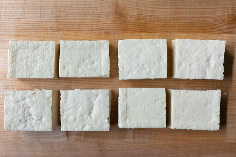 1 block of tofu, cut into 8 even pieces (like rectangular cubes)