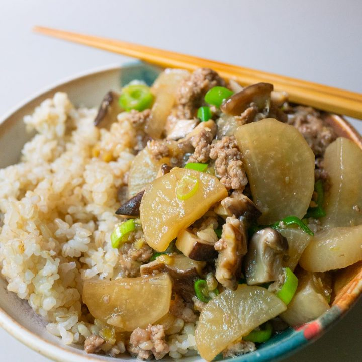 Braised Daikon, Pork, and Mushroom plated with rice in a bowl