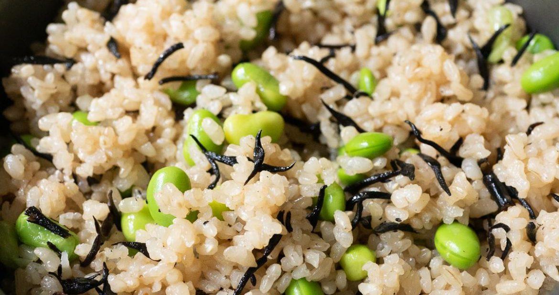 Prepared Edamame and Hijiki Rice in the rice pot