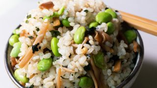 Edamame and nametake rice in a bowl