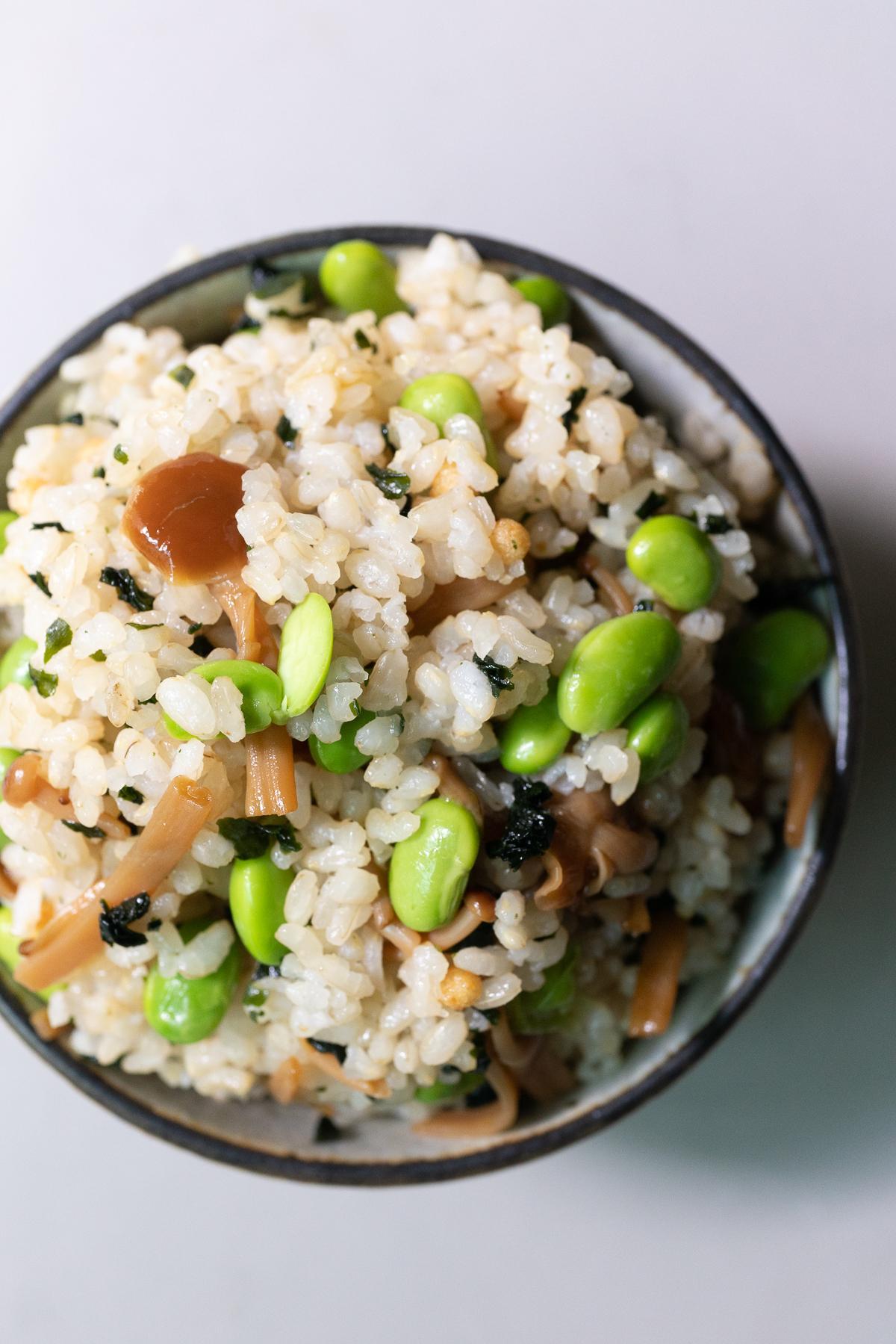 Edamame and nametake rice in a bowl