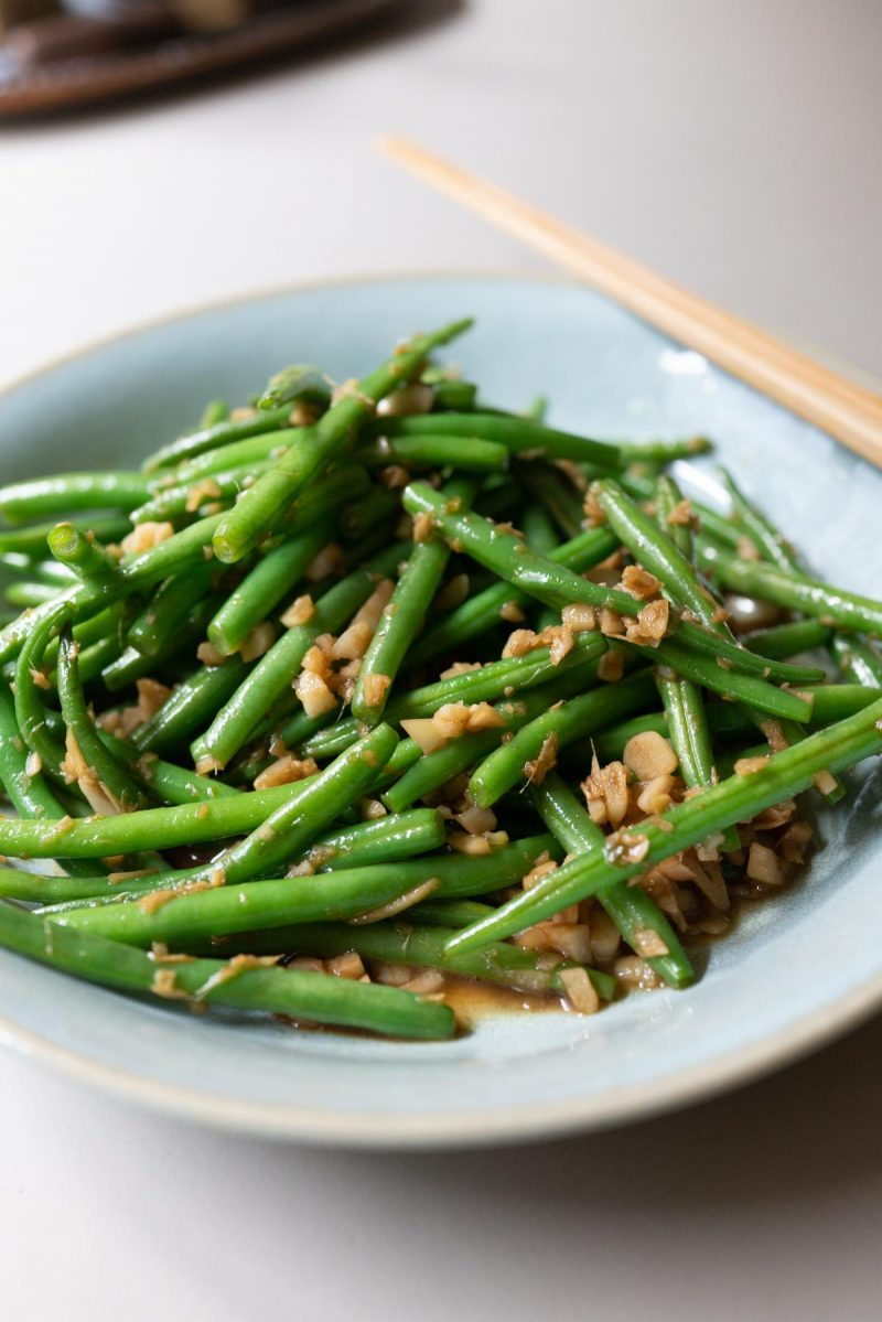 Garlic ginger green beans, plated and ready to eat