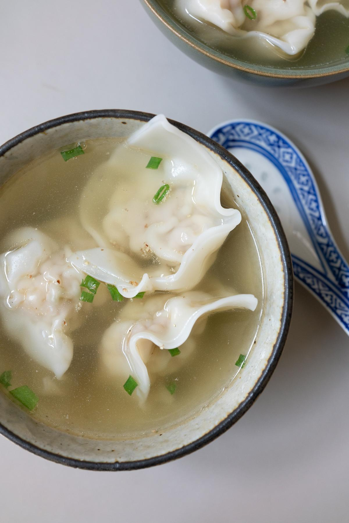 A bowl of wonton soup