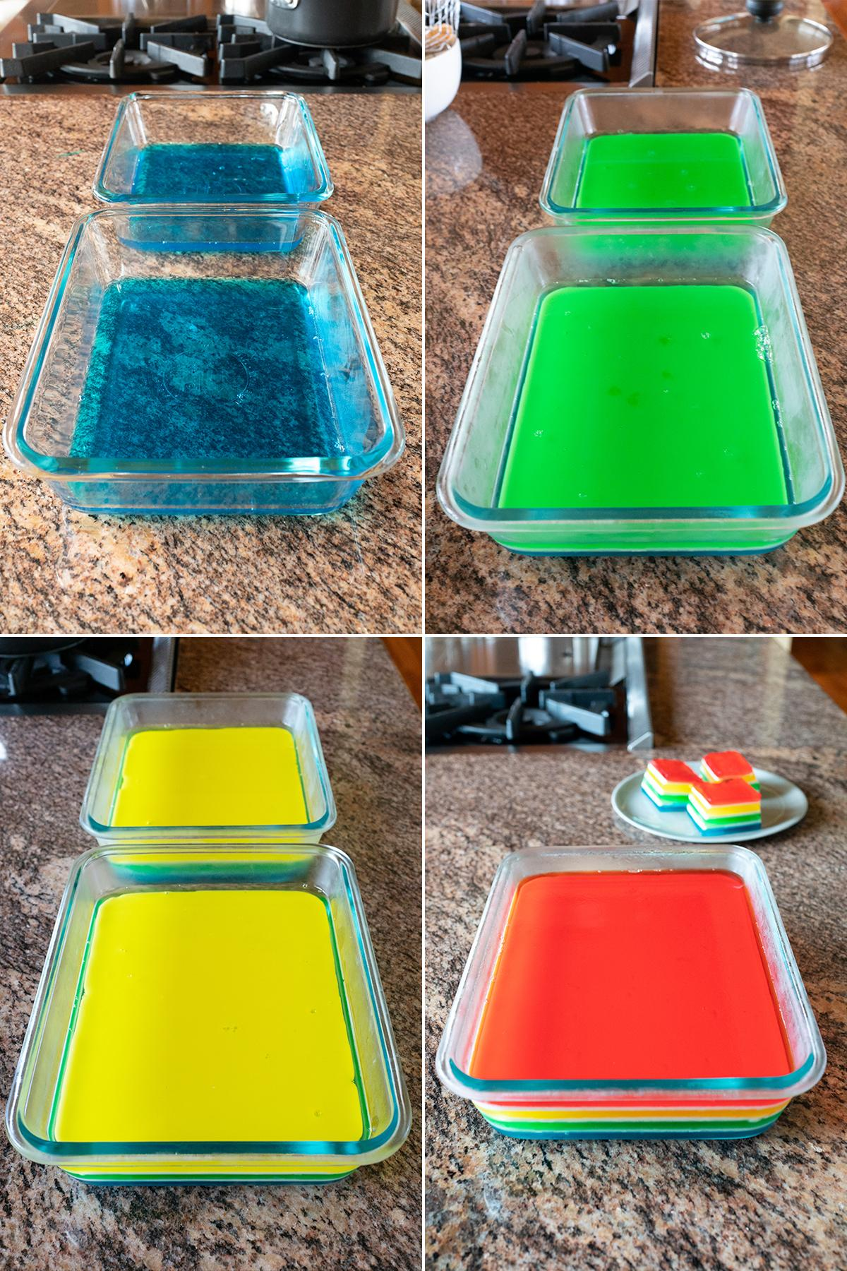 Four image collage of the different Rainbow Jello layers: blue, green, yellow, and red