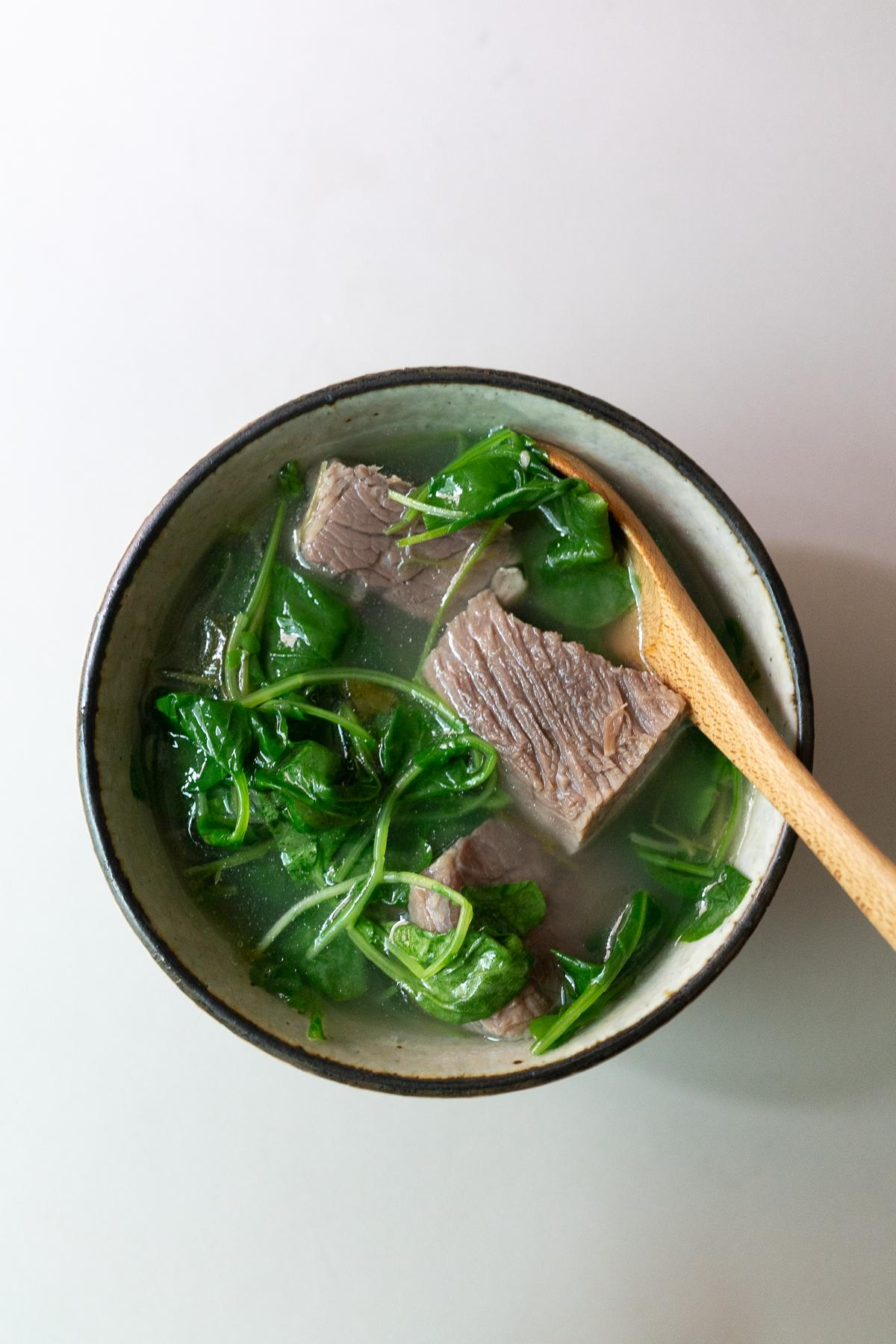 Salt Beef Watercress in a bowl, ready to eat