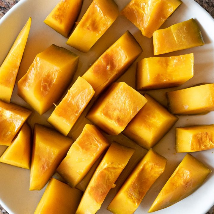 A plate of simmered kabocha squash.