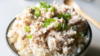 Tuna Rice in a bowl, ready to eat