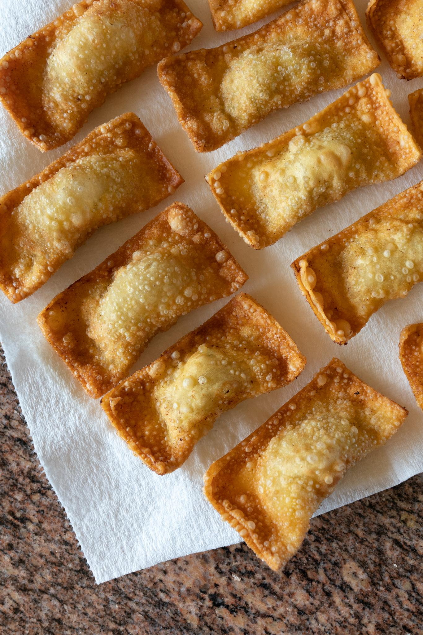A batch of fresh fried Gau Gee on a plate
