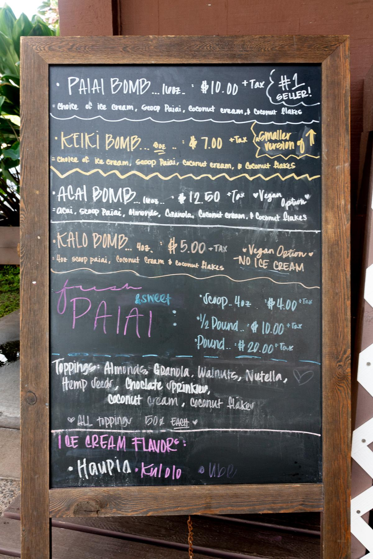 Menu board at Kalo Bombs