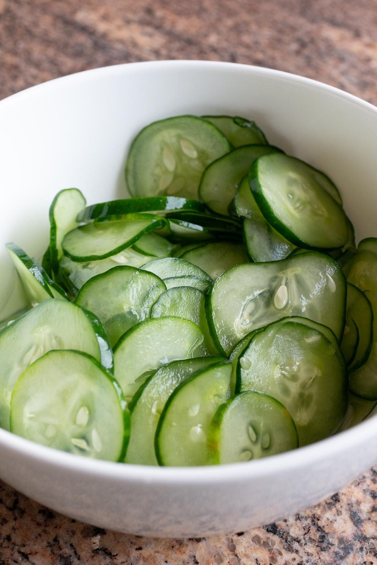 A bowl of Pickled Japanese Cucumbers