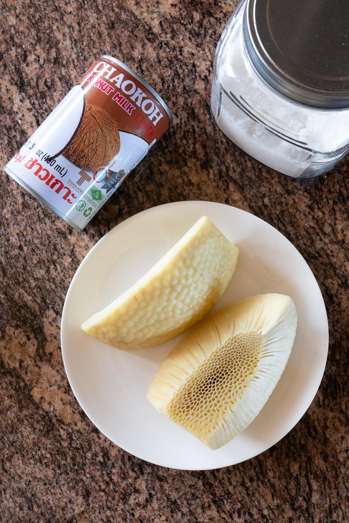 Ingredients for Breadfruit (Ulu) with Coconut Milk: breadfruit, coconut milk, sugar, and salt.