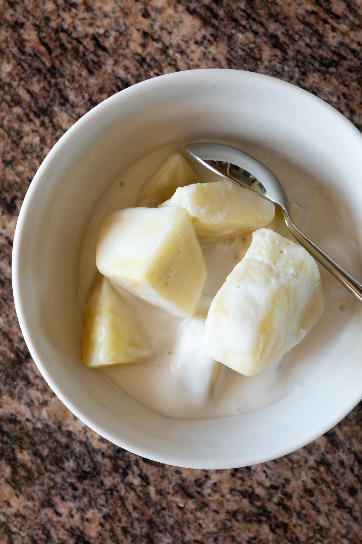 A bowl of Breadfruit (Ulu) with Coconut Milk.