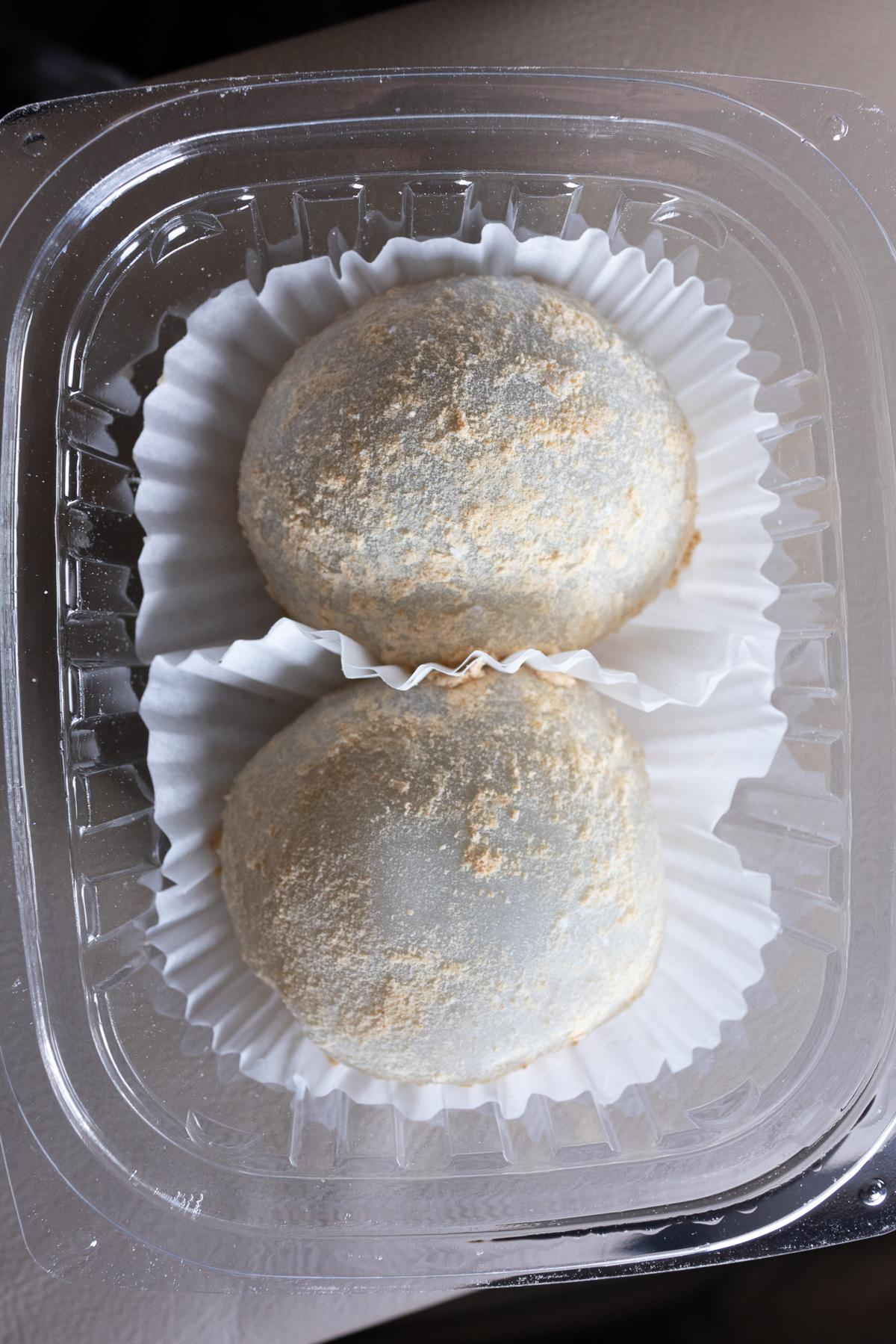 A pair of Peanut Butter and Banana Mochi