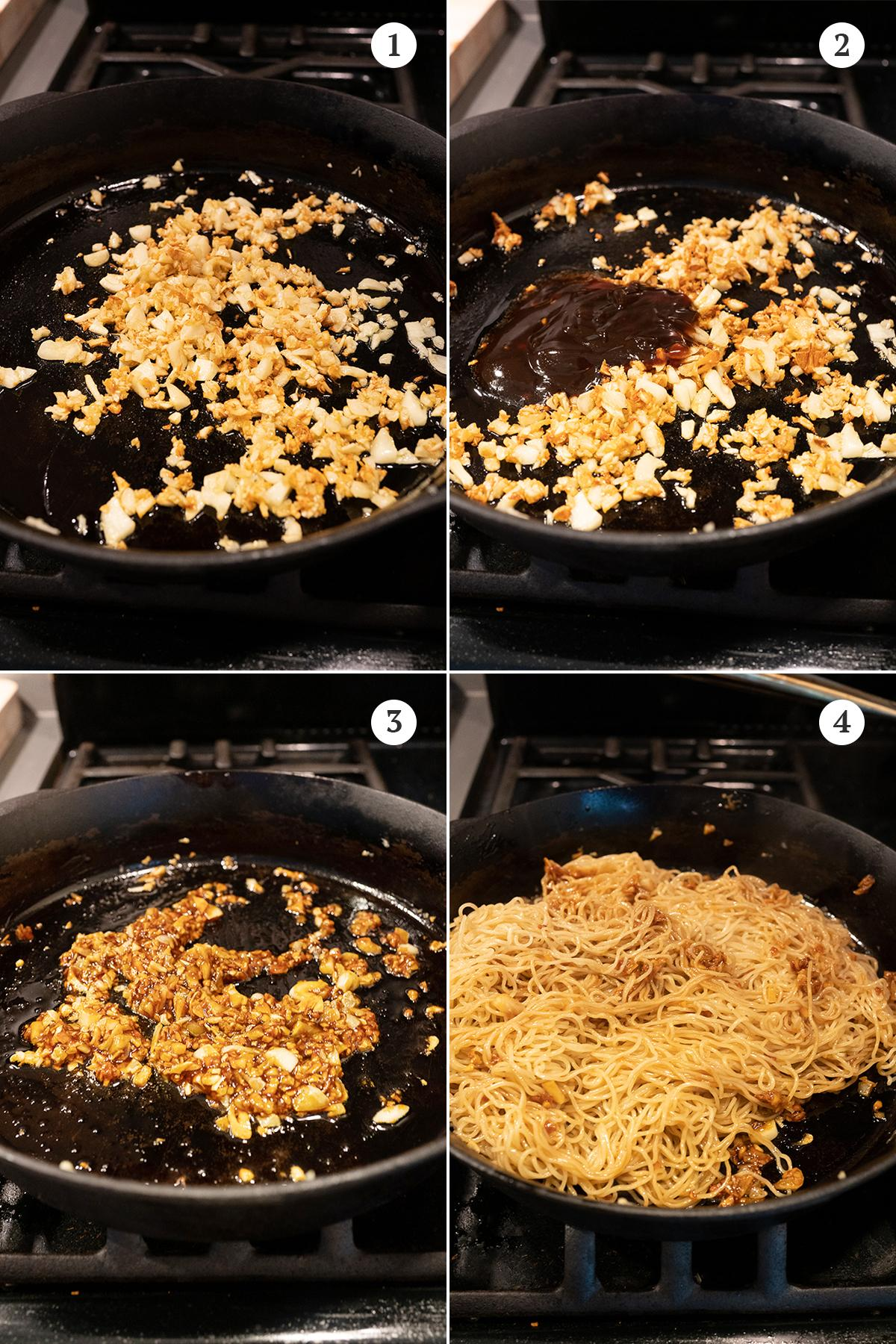 Collage of Go Lo Mein cooking steps: brown the garlic, add the oyster sauce and soy sauce mixture, stir to mix, toss with the boiled thin egg noodles.