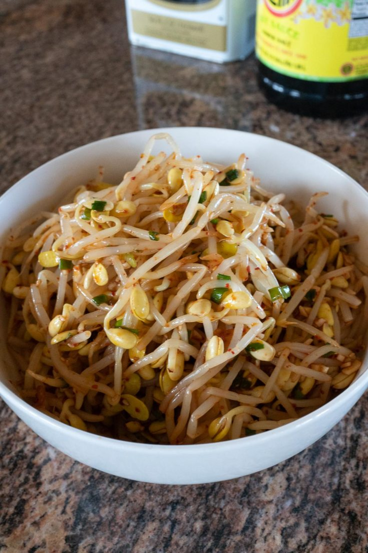 Korean Bean Sprouts in a bowl, ready to eat