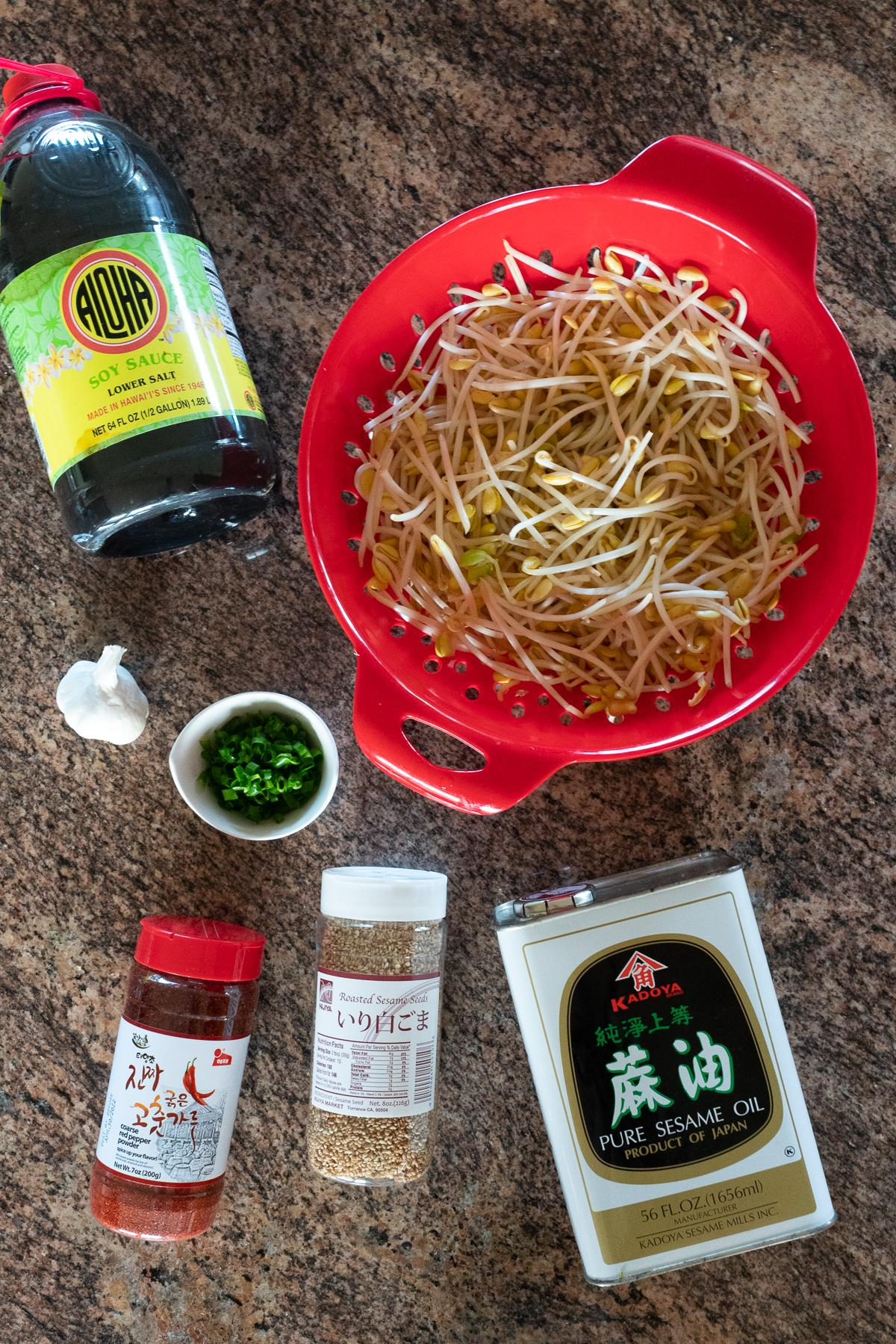 Ingredients for Korean Bean Sprouts laid out on a counter (Soybean Sprouts, Garlic, Sesame Oil, Soy Sauce, Fish Sauce, Green Onions, Korean Chili Pepper Flakes, and Sesame Seeds)