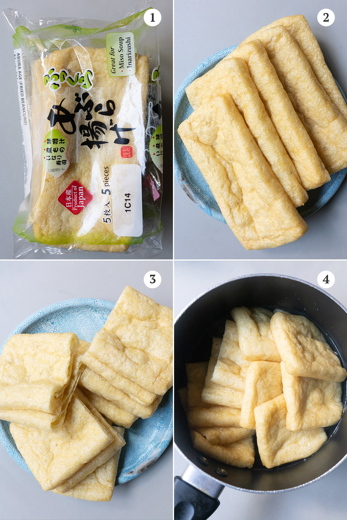 Collage of how to prepare aburage photos. Featuring: 1) a package of aburage, 2) five aburage pieces on a plate, 3) ten pieces of cut aburage pockets, 4) soaking the cut aburage in a bowl of hot water then drain.