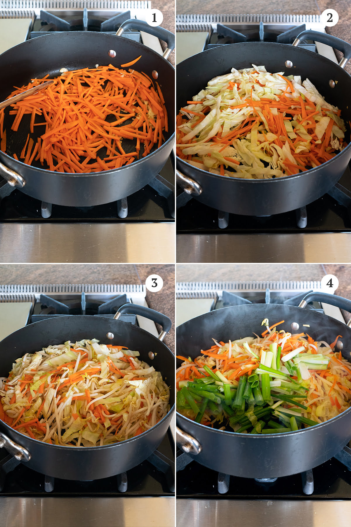Collage of adding the vegetables to be stir fried for chow fun. Carrots go in first, followed by the cabbage, mung bean sprouts, and green onions.