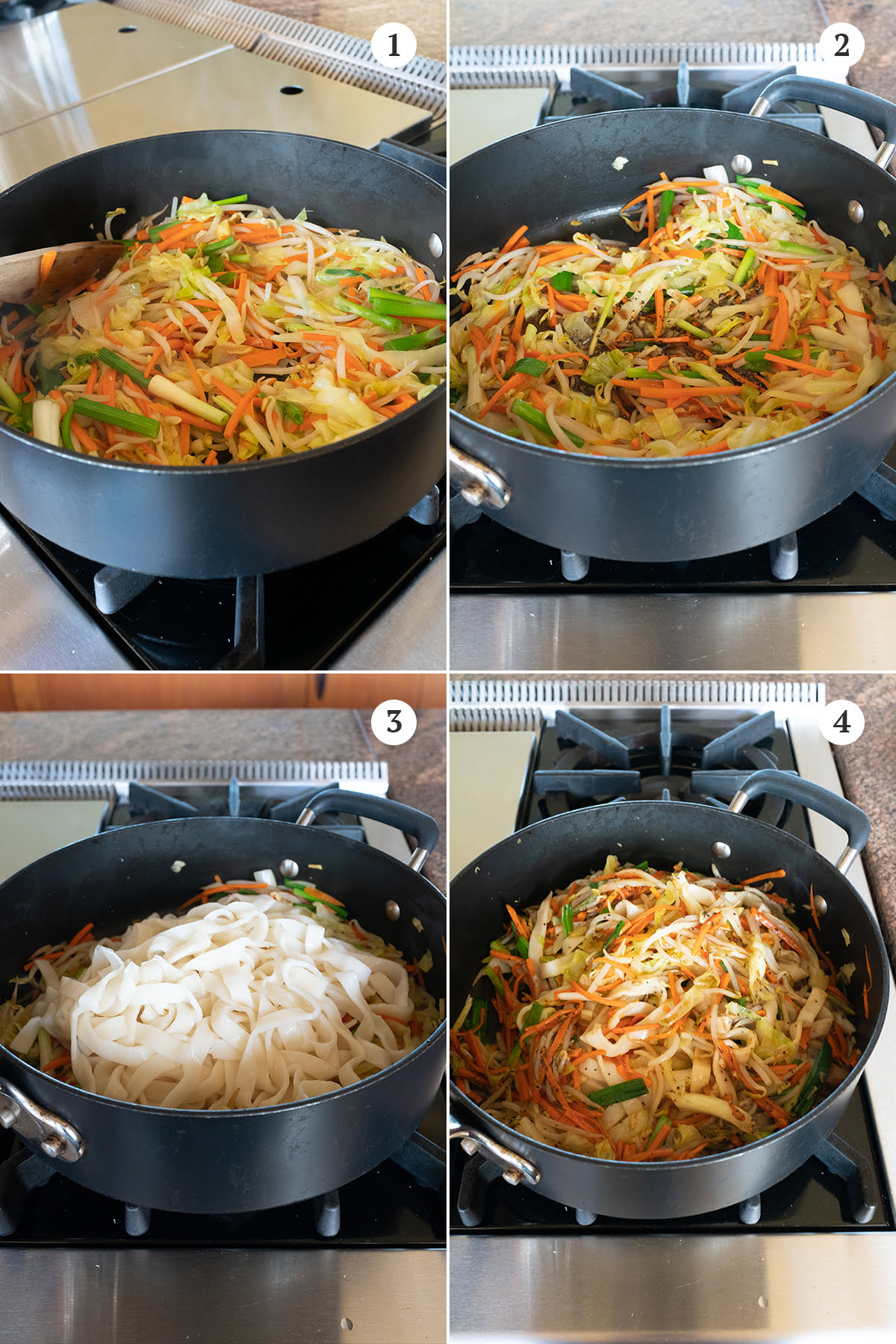 Collage of making the chow fun dish. First saute all the vegetables, then add the sauce mixture, then add the noodles. Finally, stir, mix, and eat.