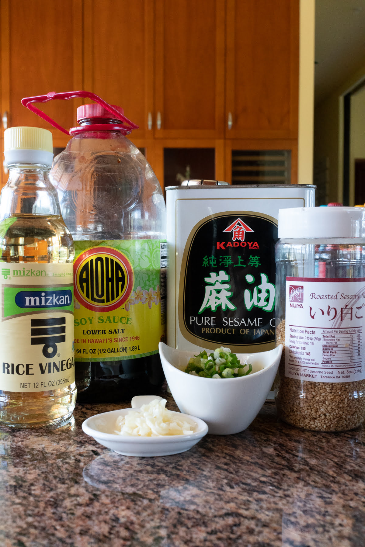 Ingredients for meat jun dipping sauce (soy sauce, rice vinegar, sesame oil, garlic cloves, and green onions).