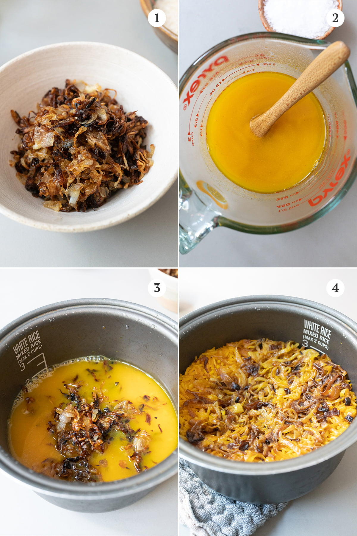 Collage of making turmeric rice steps. 1) sauté the shallots. 2) mix the chicken broth with turmeric powder and salt. 3) layer everything into the rice cooker. 4) cook the rice in the rice cooker and then fluff and mix.