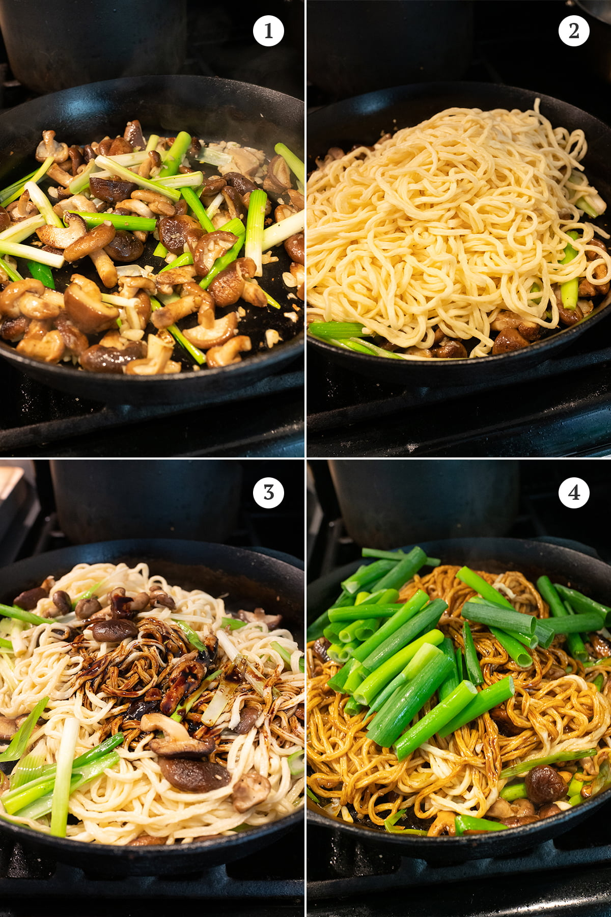 Collage of cooking steps for yi mein. 1 - sauté mushrooms, white part of green onions, and garlic. 2 - add the yi mein noodles (which should have been boiled and drained). 3 - pour in the sauce and toss. 4 - add the green parts of the green onions, toss until evenly mixed.