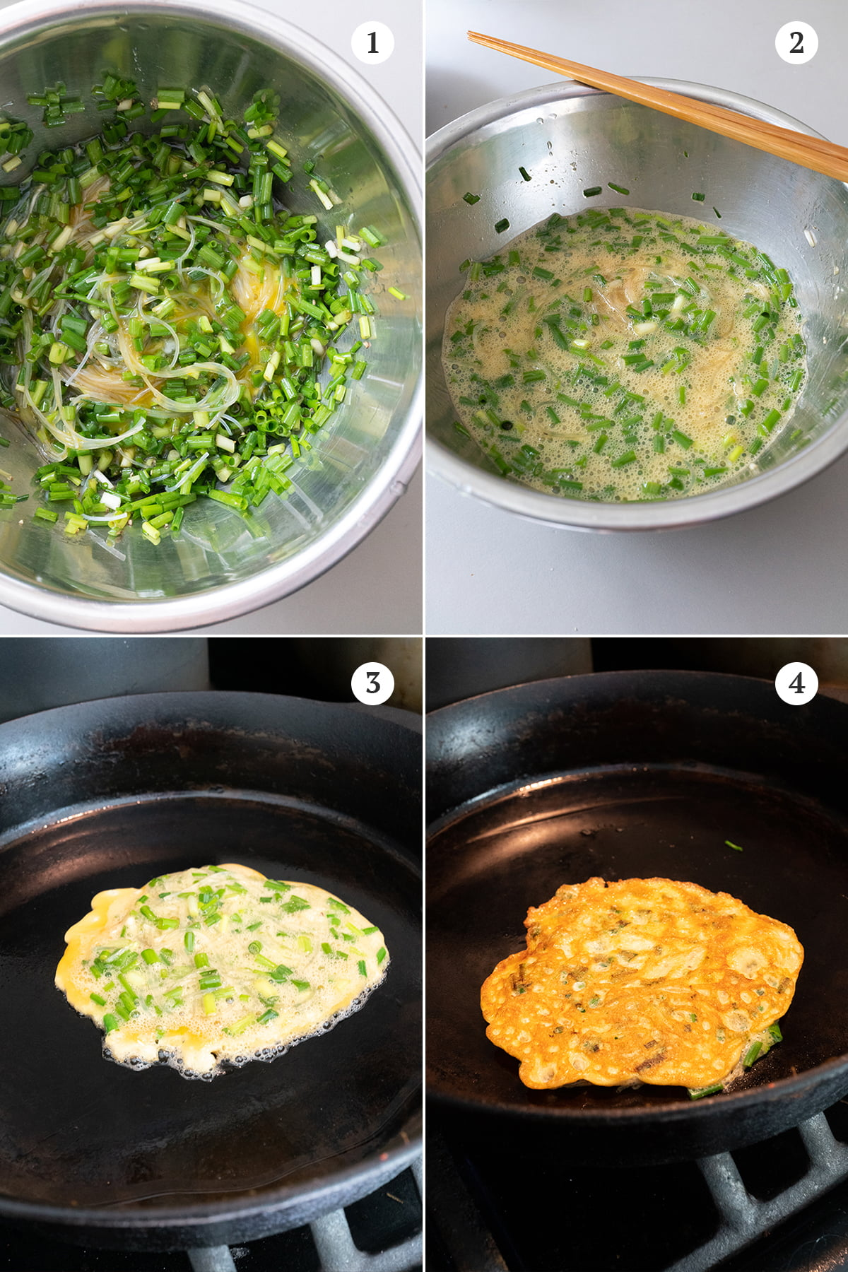Collage of cooking process: 1) add eggs, chives, and vermicelli to the bowl and mix well, 2) season and mix, 3) pan fry one side till golden, 4) pan fry the other side.